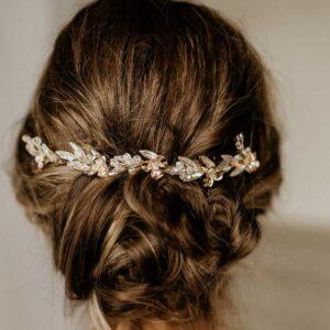 Braut Haarschmuck Strass goldfarben