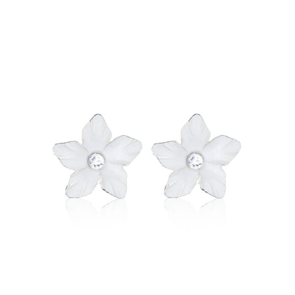 Ohrstecker Blume weiß Emaille