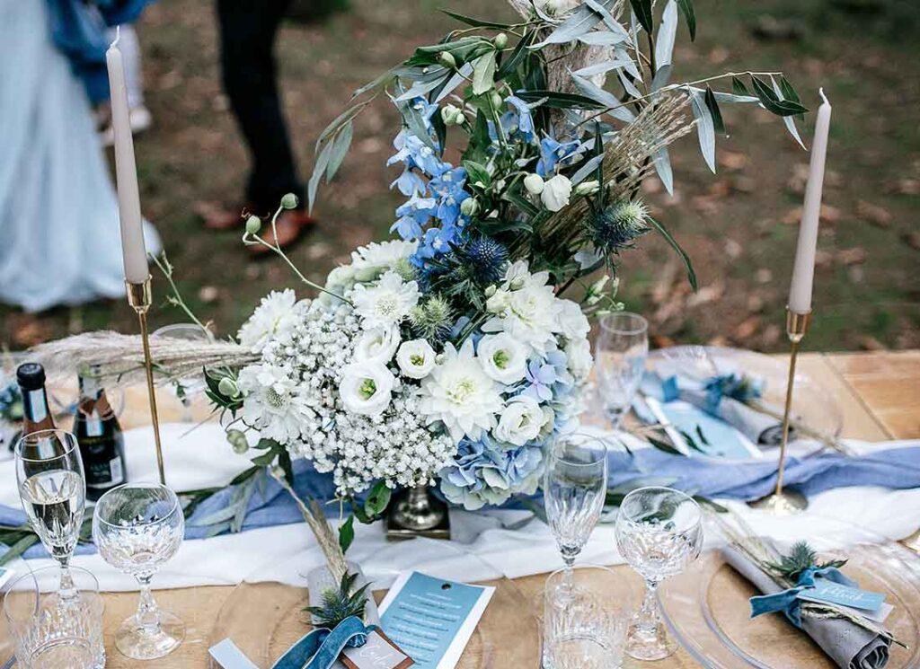 Hochzeitsdekoration Tisch Blau