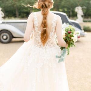 Braut-Haarandel-Blumendesign-gold